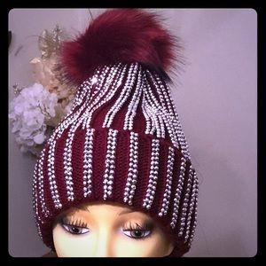 Rhinestone Pom Pom Winter Hat